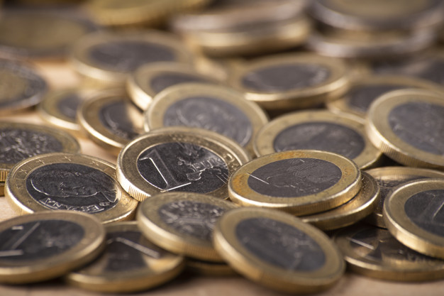 Close up of stack of euro coins
