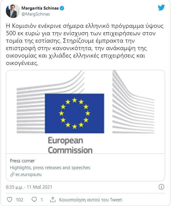 Επίτροπος Σχοινάς, ενημέρωσε μέσω ανάρτησης, ότι εγκρίθηκε σήμερα το αίτημα για ενίσχυση της Εστίασης